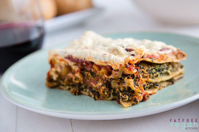 easy vegan spinach and mushroom lasagna  recipe  spinach