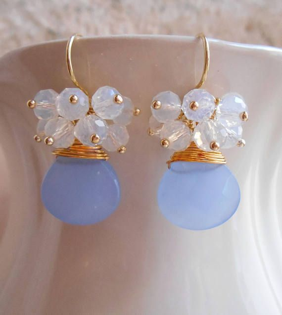 A lovely pair of cluster earrings, featuring wire wrapped faceted gemstone briolettes of your choise (you can choose gemstones from photo 8), topped with a rich cluster of milky moonstone faceted rondelles that have been wire wrapped with 14 K gold vermeil ball headpins. The