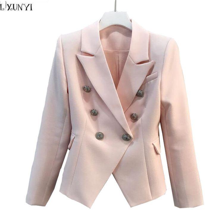 Chaqueta de doble Botonadura Mujeres Casual Manga Larga de Las Señoras Blazers chaquetas 2017 de La Moda OL Delgado Formal Traje de Chaqueta de Color Rosa Blanco Negro(China (Mainland))