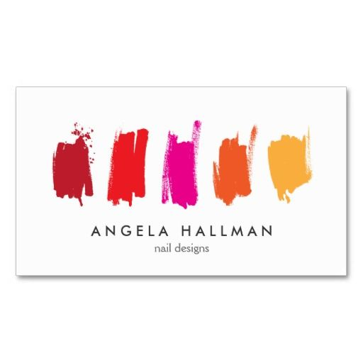 Paint Swatches Red/Orange Customizable Business Card Template for nail salon, nail designers, nail technicians, makeup artists and more. Click to personalize.