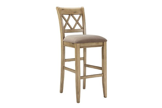 White Mestler Pub Height Barstool (Set of 2) by Ashley Furniture