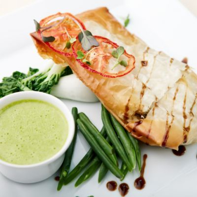 GrilledToothfish Steak and with Pesto and Coriander