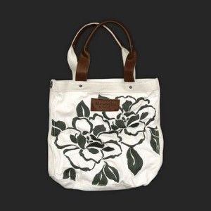 abercrombie and fitch bags white flower tote (AF 570015 code)