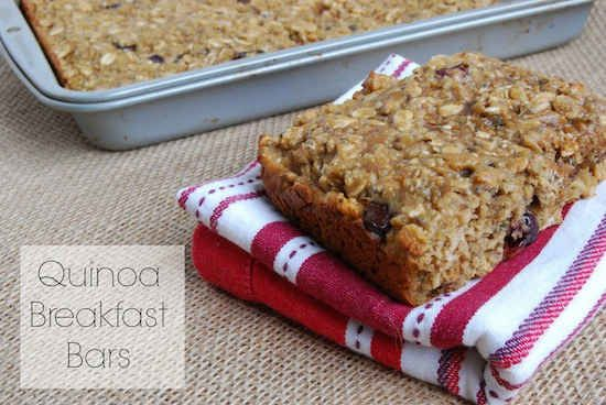 Bake a batch of these quinoa breakfast bars.