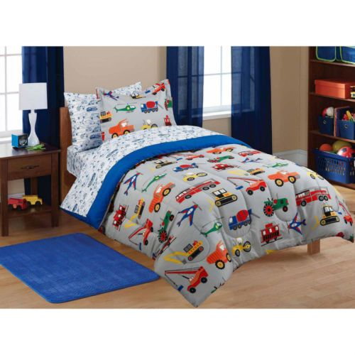 New-Boys-Comforter-Set-W-Sheets-Cars-Tractors-Trucks-Kids-Bed-in-a-Bag-Twin-Size