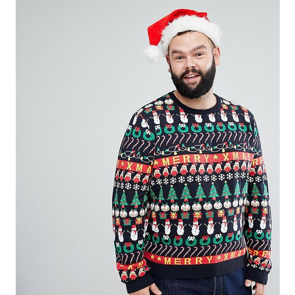 ASOS PLUS Christmas Jumper With All Over Design In Navy (538.080 IDR) ❤ liked on Polyvore featuring men's fashion, men's clothing, men's sweaters, multi, mens crewneck sweaters, mens crew neck sweaters, old navy mens sweaters and mens christmas sweaters