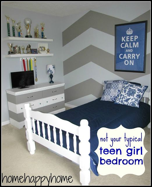 not your typical teen girl bedroom chevron wall navy and gray my space and projects. Black Bedroom Furniture Sets. Home Design Ideas