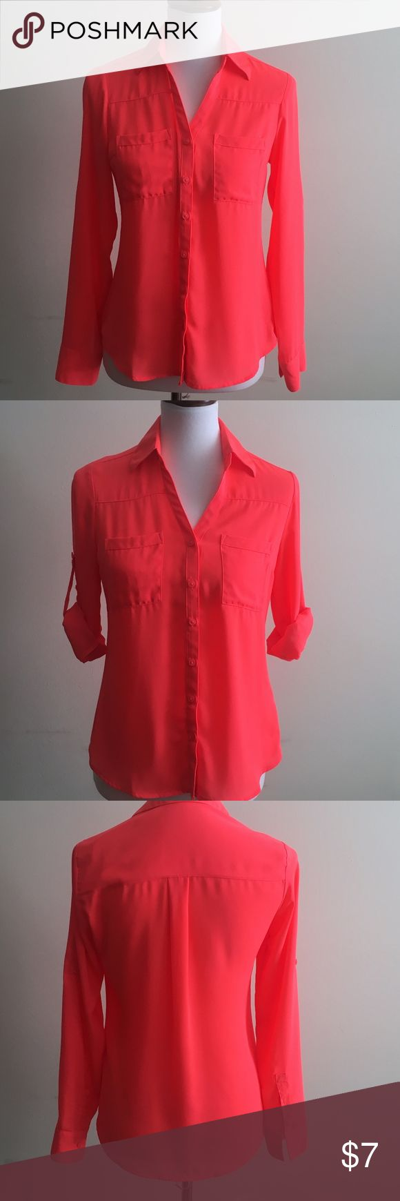 EUC EXPRESS Convertible Sleeve Portofino Shirt In excellent used condition; only worn a couple of times. A merger of classic shirt confidence and effortlessly sexy style in luxe, semi-sheer crepe, this slim cut Portofino Shirt by Express is tailored for a modern fit. Tucks perfectly into a pencil skirt or jean. Color: Hot coral pink. Size: XS/TP. 100% polyester. Machine washable. Express Tops Blouses