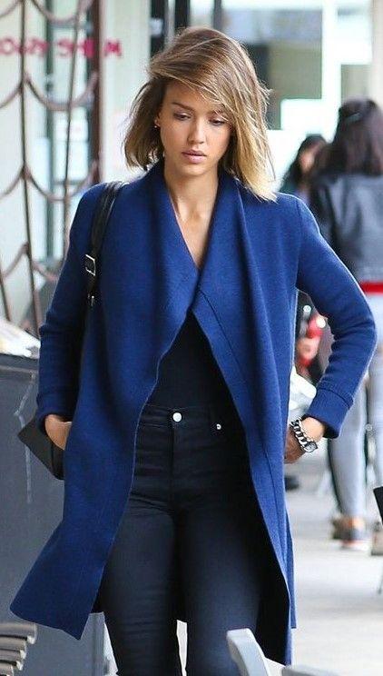 Jessica Alba blue coat