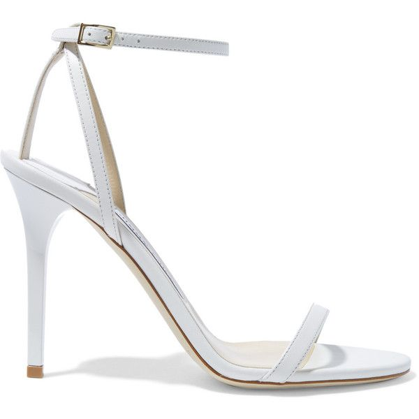 Jimmy Choo - Minny Leather Sandals ($360) ❤ liked on Polyvore featuring shoes, sandals, white, high heel shoes, high heel sandals, leather sandals, white strappy sandals and strappy leather sandals