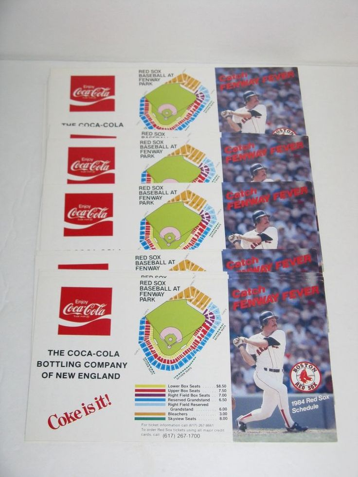 LOT *22* COCA COLA 1984 BOSTON RED SOX BASEBALL UNFOLDED SCHEDULES ~ WADE BOGGS