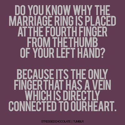 love: Heart, Sweet, Rings Fingers, Fun Facts, Wedding Rings, Marriage, Inspiration Quotes, Wedding Quotes, Romantic Ideas