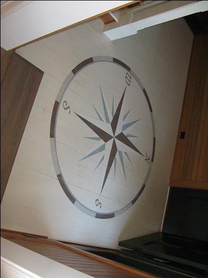 Mjpfaux Com Floors Stencil Compass Rose On Mudroom