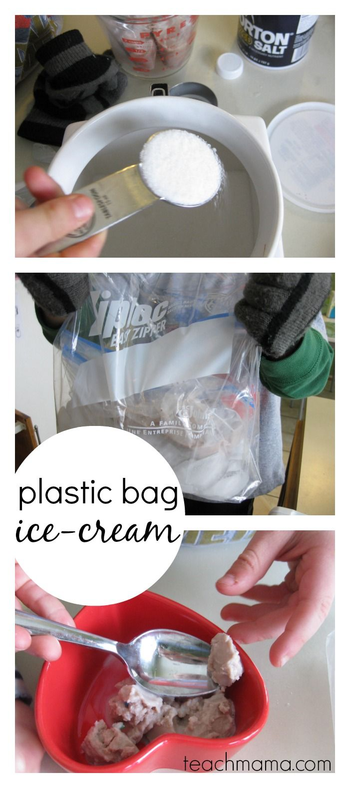 easy, homemade plastic bag ice-cream | teachmama.com | free printable kid-friendly recipe #weteach