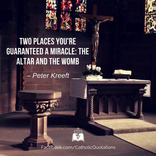 Two places your are guaranteed miracles: the womb and the tomb. -Peter Kreeft  FB- Catholic Quotations