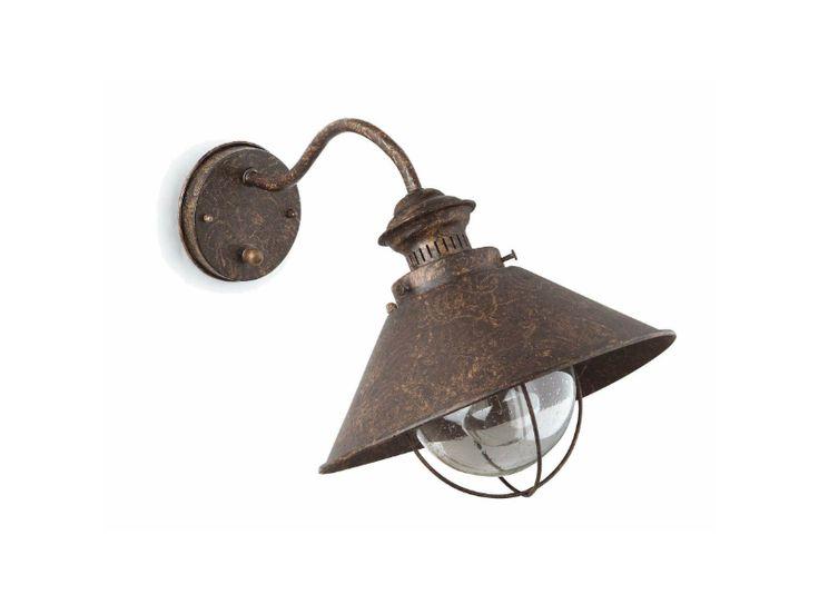 NÁUTICA Lámpara aplique | Marrón óxido 1L Ø26cm. Lámpara aplique: Altura 26cm - Ancho 37cm - DiámetroØ26cm.Material: Metal y difusor de cristal burbuja.Iluminación: E27 1x11W.Bombilla NO incluida.