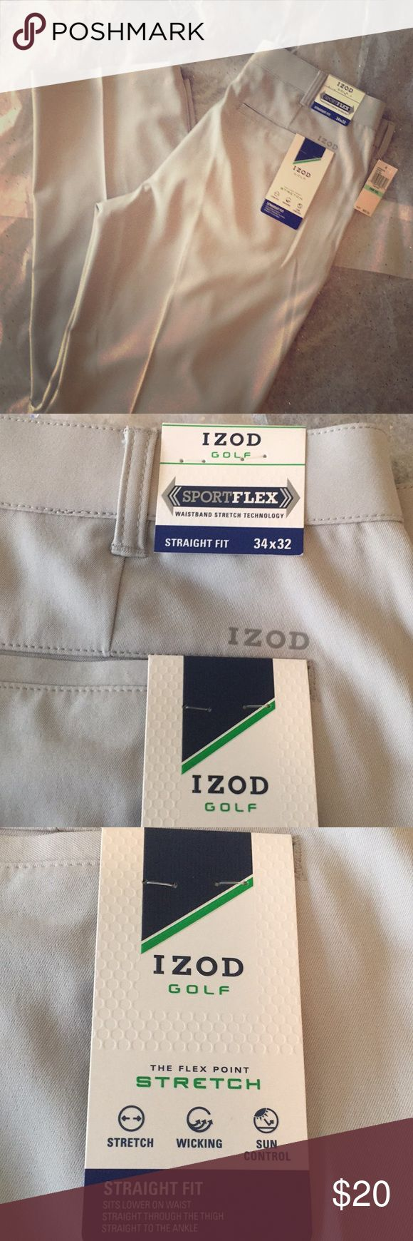 New Years Price 🎉NWT IZOD Golf pants NWT IZOD grey golf pants. Size 34x32 straight fit. Sits lower on waist, straight through the thigh and straight to the ankle. Izod Pants Dress