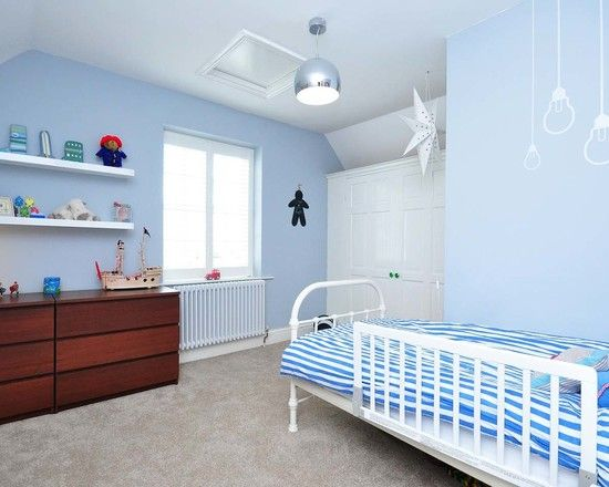 , Contemporary Duck Egg Blue Bedroom Ideas For Kids Also White Modern Shelves And Modern Brown Bureau Also White Wooden Single Bed Frame With Blue White Sheet Also Striped Pattern And Gray Wall To Wall Carpeting: Duck Egg Living Room & Duck Egg Bedroom Ideas