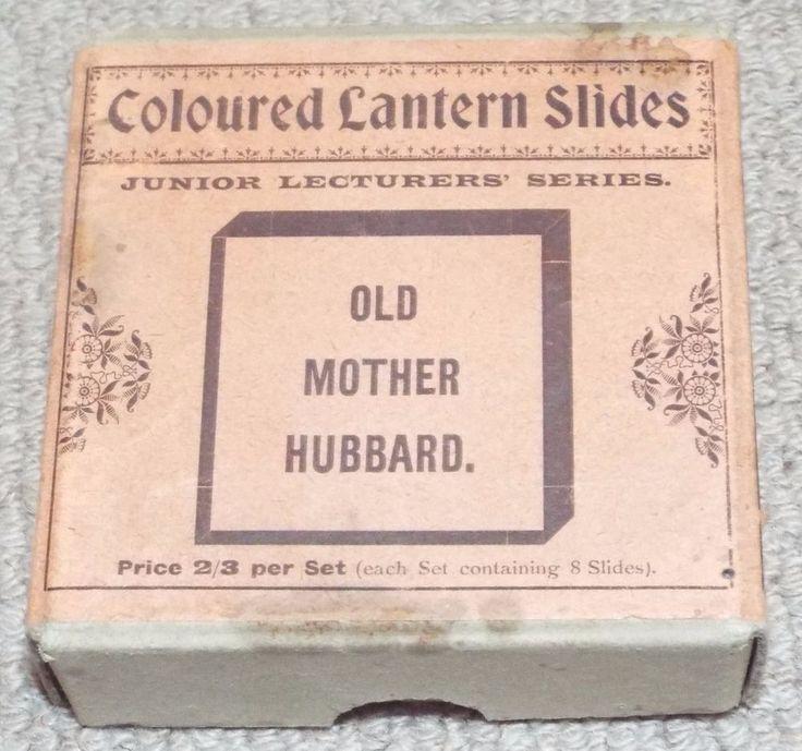 OLD MOTHER HUBBARD -  BOXED SET OF 8 ANTIQUE MAGIC LANTERN SLIDES - PRIMUS