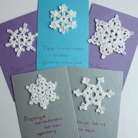 Nog een idee voor het zelf maken/haken van kerstkaarten: gehaakte sneeuwvlokken.Er zijn op internet heel veel sneeuwvlokken/kristallen te v...