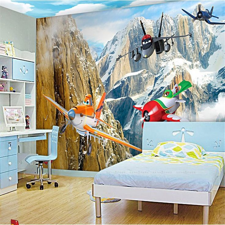 beibehang Custom 3d wallpaper living room cartoon plane snow mountain bedroom children room wall home decoration background  #Affiliate