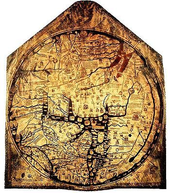 The Hereford Mappa Mundi is a mappa mundi, of a form deriving from the T and O pattern, dating to ca. 1300. It is currently on display in Hereford Cathedral in Hereford, England. It is the largest medieval map known to still exist.