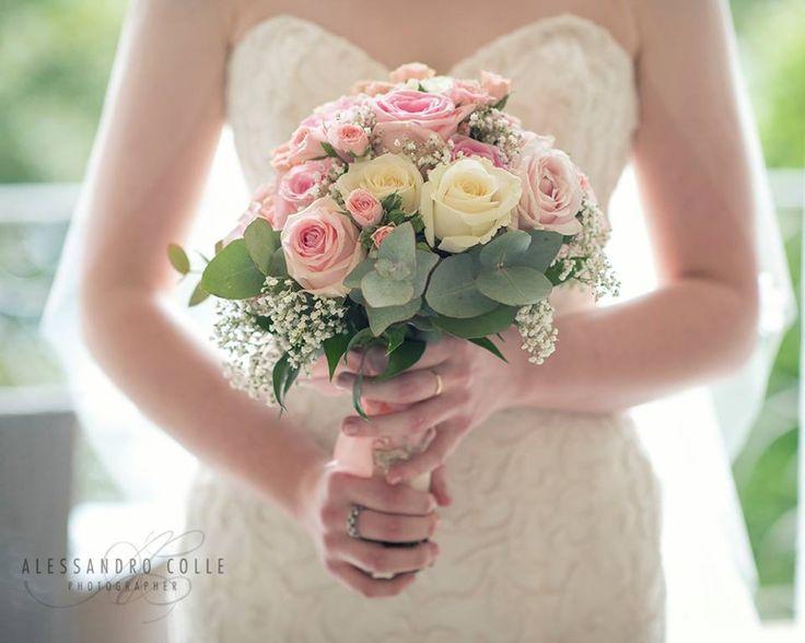Splendid pale pink roses bridal bouquet