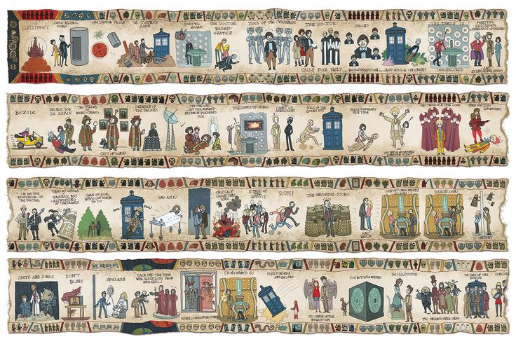 Doctor Who 50th anniversary artwork in style of Bayeux Tapestry