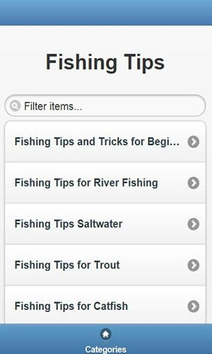 Fishing Tips is free VDO clips, it is contains 5 categories, over 200 VDO clips;            <br>Fishing Tips and Tricks for Beginners, River Fishing, Saltwater, for Trout, for Catfish …<br>….And there are many titles of free VDO clips for each categories, these are the sample of them;<br>Beach fishing tips for beginners   <br>Bank Fishing Tips and Tricks <br>Best Ever Catfish Fishing tip, Hot dog bait rig for Channel Blue Flathead Wels Ginch Cats <br>Catfish Fishing - Secrets, Tricks, and…