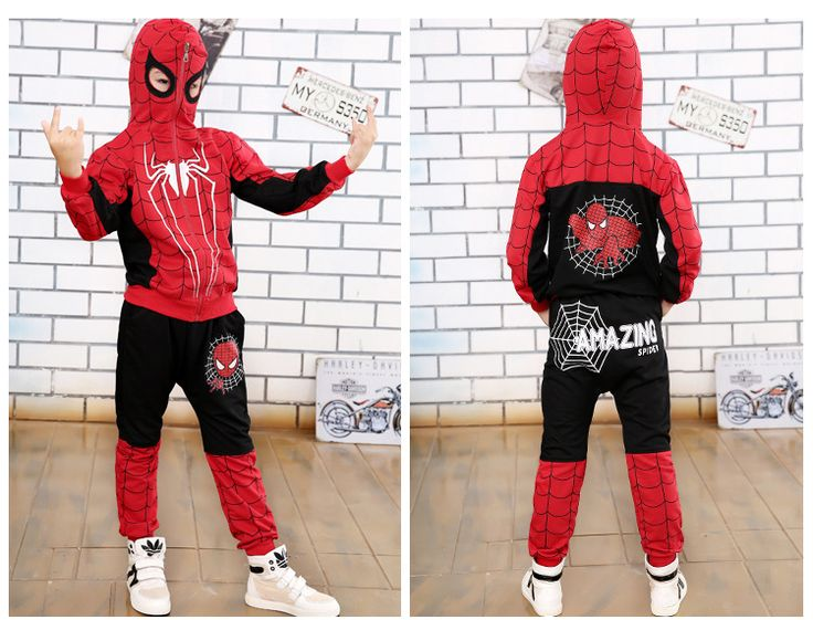 Nice 2017 Spring and Autumn Pants + Children Cartoon Hoodie Jackets 2 To 10 Years Child Boys Clothing Set Spiderman Costume for Kids - $33 - Buy it Now!