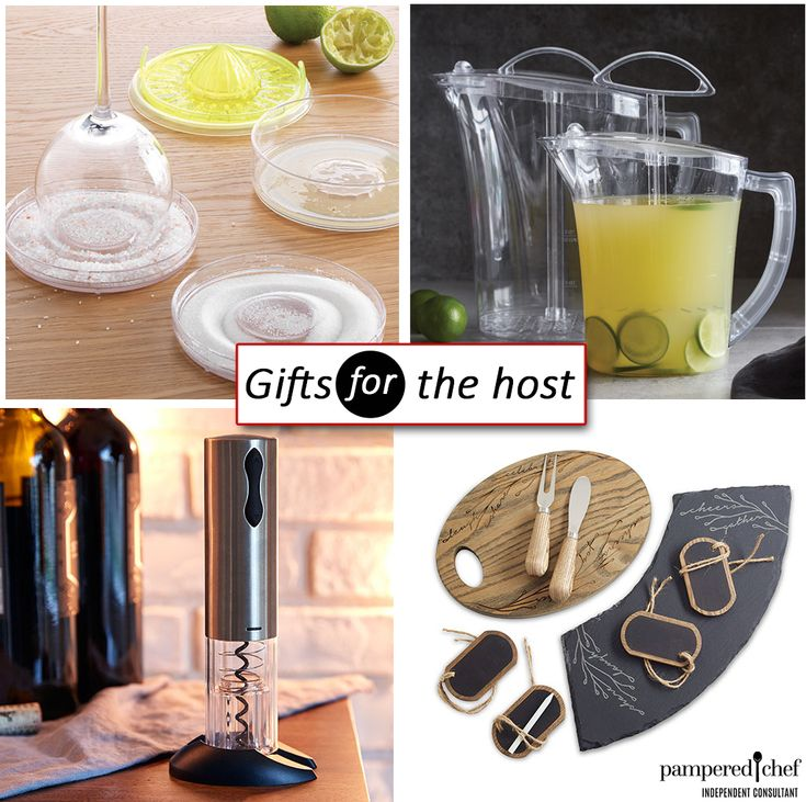 Pampered Chef Gifts for the Host, Electric Wine Opener, Drink Rimmer, Quick Stir Pitcher, Cheese Board, Margarita, Wine, Entertaining, party host, gift giving, acacia wood, slate serving board