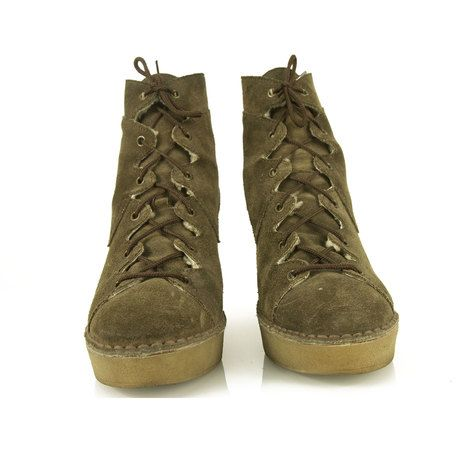 Pierre Hardy Beige Sheepskin wedge platform Lace Up boots Booties Shoes size 39