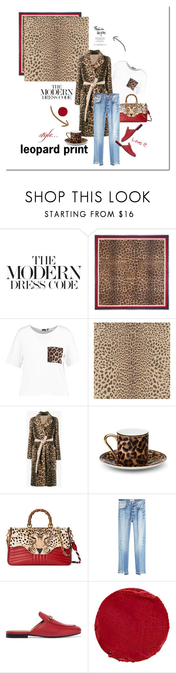 """""""""""As far as I'm concerned, leopard is a neutral."""" —Jenna Lyons"""" by elena-777s ❤ liked on Polyvore featuring Gucci, Boohoo, Graham & Brown, Yves Salomon, Asprey, Frame, Temptu, LeopardPrint, animalprint and 2017"""
