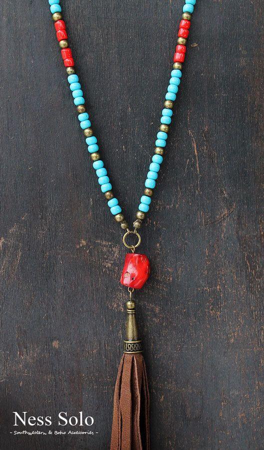 Long Boho necklace Gypsy necklace hippie neklace blue by NessSolo