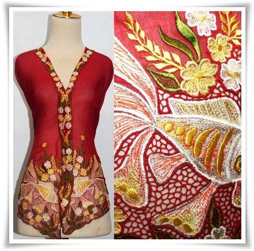 Kebaya Nyonya (Blouse) with Gold Fish Design. Very beautiful. I like :-)