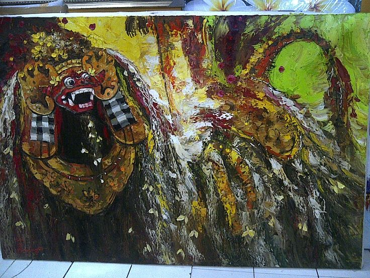 barong bali oil painting  requestpaintings@yahoo.com
