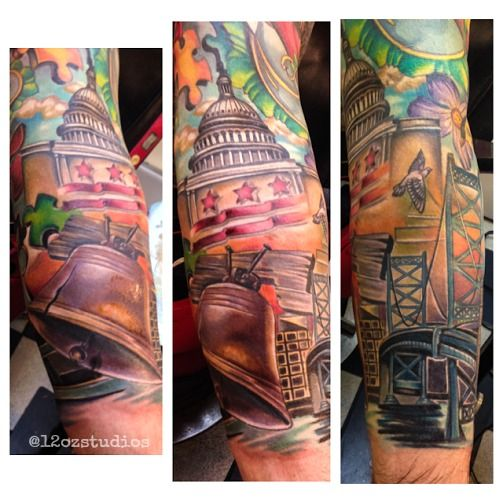 awesome philadelphia washington dc themed sleeve tattoo by meghan patrick meghan patrick. Black Bedroom Furniture Sets. Home Design Ideas