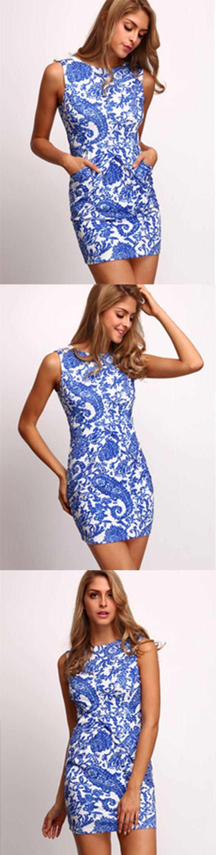 Blue Sleeveless Tribal Print Bodycon Dress