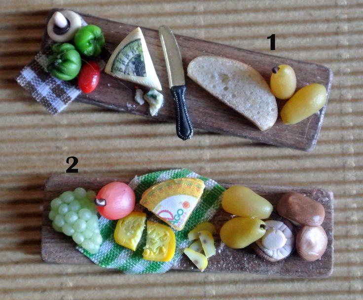 Cibo in miniatura - Taglieri con formaggi, frutta e verdura - Scala 1:12 - Dollhouse di Mazumaja su Etsy