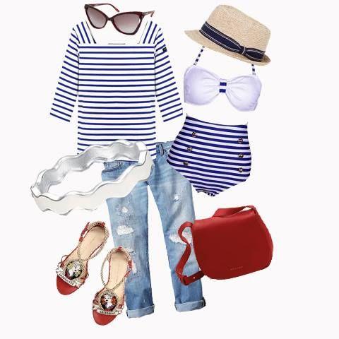 Righe divertenti su maglie, costumi ed accessori! #righe #navystyle #outfit #look #consiglidistile #lucabarragioielli