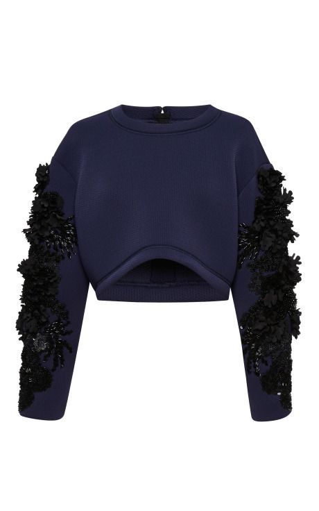 Shop Embroidered Neoprene Crop Top by Aquilano.Rimondi for Preorder on Moda Operandi