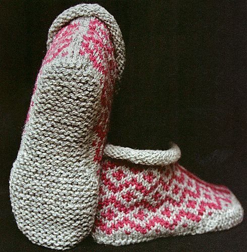 "makinology: "" knit …. garter stitch sole slippers … nice … garter sole slippers … nice pattern is in a book called 'knit one knit all' by elizabeth zimmerman~…(via Ravelry) """