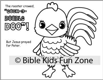 Children's Rooster pop-up craft for the bible lesson of