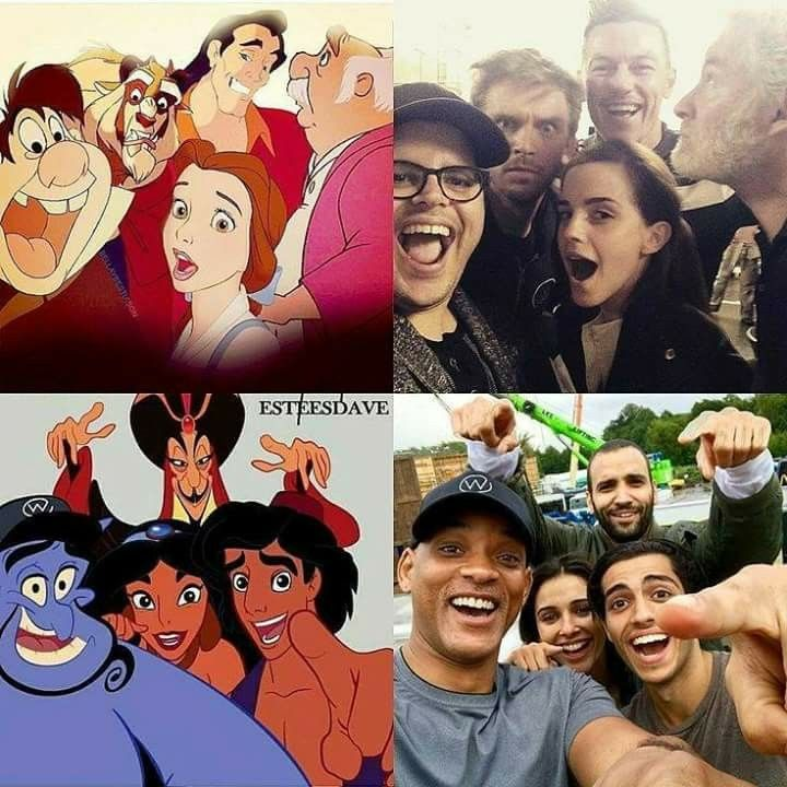 Beauty and the Beast animated characters with live-action cast. Aladdin animated characters with live-action cast