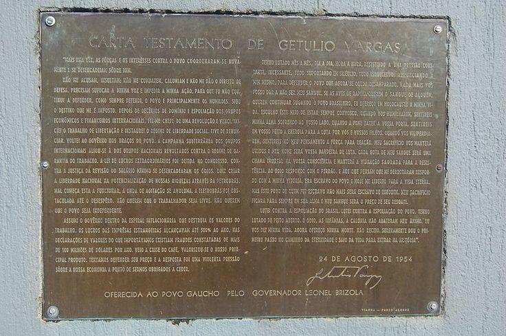 Replica da Carta Testamento de Getulio Vargas-Nova Petropolis