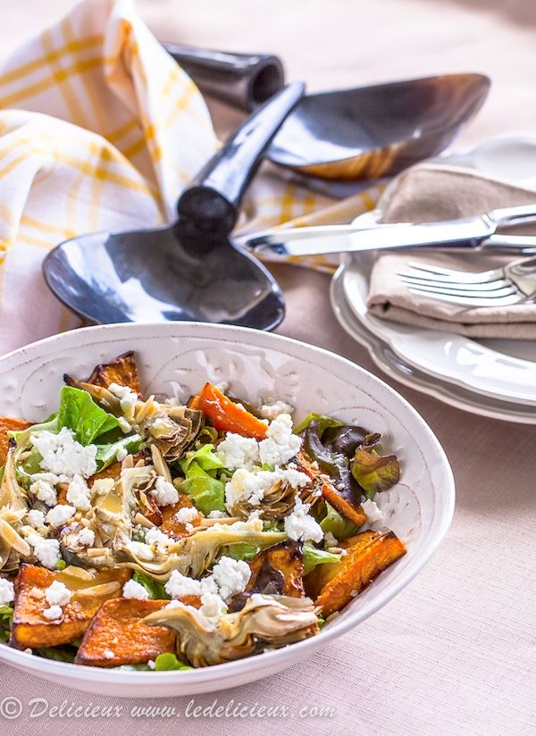 Roasted Pumpkin Salad with Artichoke Goats Cheese Salad