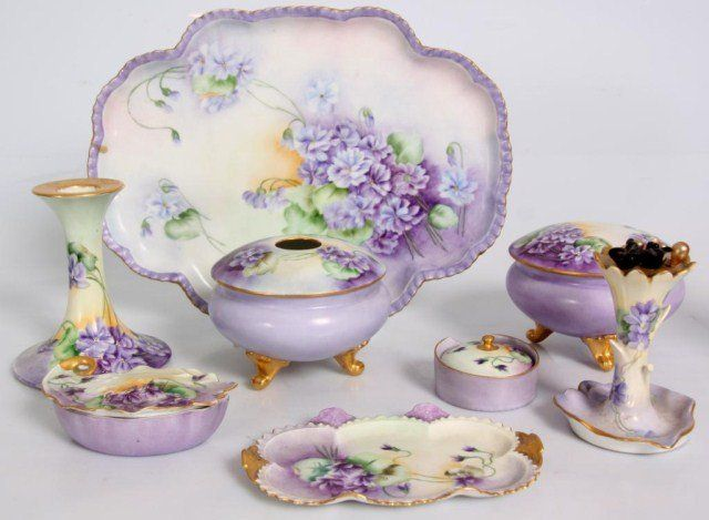 8 Pc. Porcelain Dresser Set