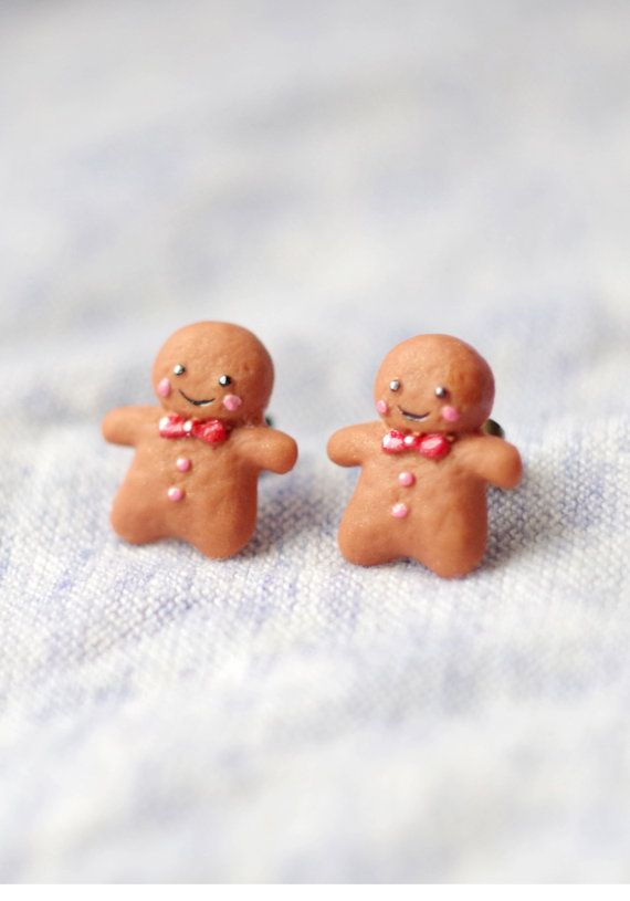 Christmas earrings polymer clay gingerbread man by CloverPowers