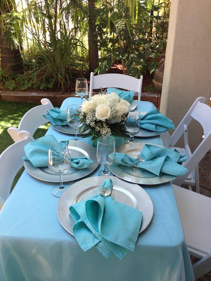 Tiffany theme bridal shower centerpieces