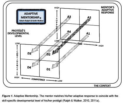 The Adaptive Mentorship Model: The mentor matches adaptive responses to the developmental level of the mentee. It is based on the situational #leadership theory, and is backed by research to be effective in a variety of mentoring contexts.